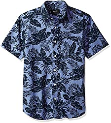 Jack Spade Mens Clift Short Sleeve Tropics Point Collar Shirt, Indigo, X-Small