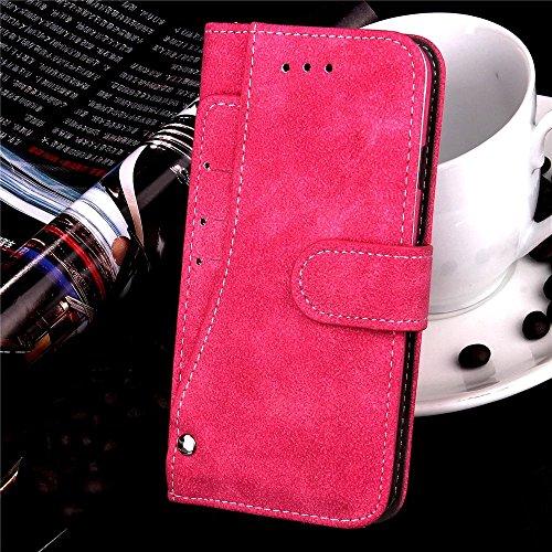 iPhone Case Cover Embossed Blumen Retro Folio Premium PU Ledertasche Magnetverschluss Wallet Stand Stil Handschlaufe Case Cover für iPhone 6s Plus ( Color : Purple , Size : IPhone 6s Plus ) Rose