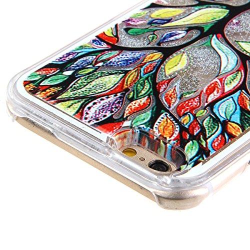 Copertura dura per la iphone 5C, Hard Case Cover per iphone 5C in 3D, iphone 5C custodia rigida, Ukayfe Creative Design scorre fluttuante liquido lusso di Bling di scintillio Sparkle Stars assorbiment argento-pittura albero