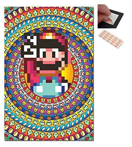 Garnitur - 2 Artikel - Super Mario Power Ups Plakat - 91,5 X 61cm (36 X 24 Zoll) und ein Set 4 Stück Repositionierbar Klebepads für Einfache Wandbefestigung