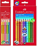 Faber-Castell Bundle 110912 Buntstift Jumbo GRIP 12er Kartonetui; inklusive Spitzer und Faber-Castell 110994 - Buntstifte Jumbo Grip Neon, 5-er Etui (Bundle neon + 12er bunt, 1)