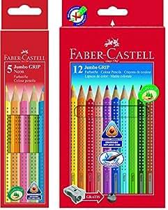 Faber-castell-jumbo grip - 110912 ensemble de 12 crayons de couleur dans emballage en carton, avec taille-crayon et faber-castell 110994 étui de crayons de couleur jumbo grip neon 5 Bundle neon + 12er bunt