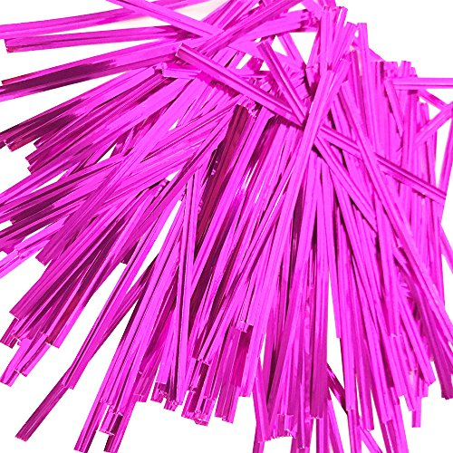 EDGEAM 800Stk Bindedraht Kunststoff Coated Twistband Metalldraht Twist Ties Drehbinder für Packungs Dichtung Brot backen Süßigkeiten 4mm x 10cm (Pink)