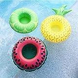 piscine gonflable flotteur support à boisson par Lintimes Fruits Pastèque Citron Ananas Forme 3pcs Porte-gobelet pour les fêtes pour piscine de bain pour enfants