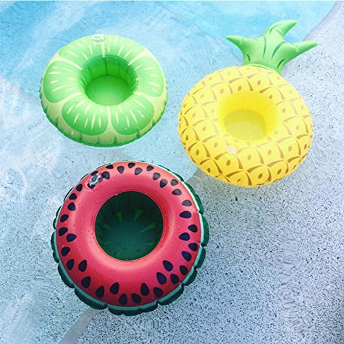 Aufblasbare Pool Float Getränkehalter von lintimes Fruit Watermelon Lemon Ananas Form 3 Becherhalter für Kinder Bad Pool Partys