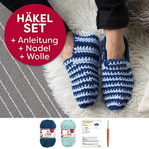 myboshi Häkel-Set Hausschuhe Suzuka für Anfänger (30% Merinowolle, 70% Polyacryl) Anleitung + Häkelnadel + Label + 4x Wolle für Größen 34 - 47 (himmelblau, marine)