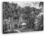 Pavillon in bezaubernder Landschaft in Florida Effekt: Schwarz/Weiß im Format: 60x40 als Leinwandbild, Motiv fertig gerahmt auf Echtholzrahmen, Hochwertiger Digitaldruck mit Rahmen, Kein Poster oder Plakat