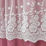 Mantovana coreana per tenda a mezza finestra, motivo floreale, in pizzo, rosa, 1