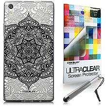 CASEiLIKE Arte de la mandala 2097 Bumper Prima Híbrido Duro Protección Case Cover Funda Cascara for Huawei Ascend P7 +Protector de Pantalla +Plumas Stylus retráctil (Color al azar)