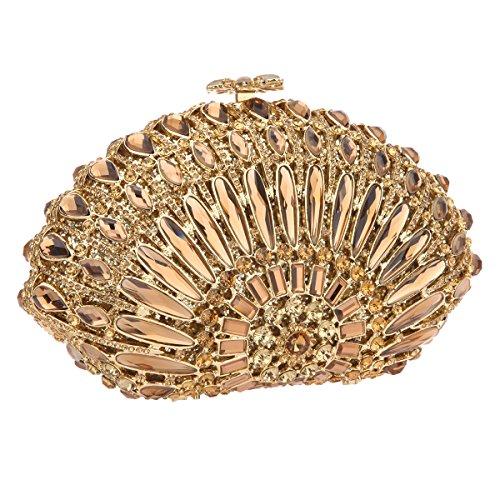 Bonjanvye Crystal Seashell Shaped Prom Clutch Purses Bling Clutch Evening Bag Rose Gold Smoky yellow