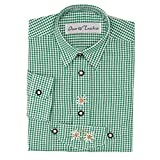 Kinder Trachtenhemd von Isar Trachten, sehr gut passend zur Lederhose, Farbe:Grün;Größe:110