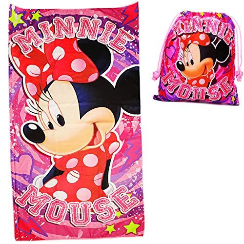 alles-meine.de GmbH 2 TLG. Set _ Badetuch / Strandtuch & Turnbeutel -  Disney - Minnie Mouse  - 70 cm * 140 cm - Frottee / Velours - Handtuch - Mädchen - 70x140 für Kinder - Sp.. (Minnie Maus Handtuch-set)
