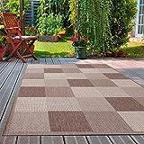 VIMODA Robuster Flachgewebe Teppich In- und Outdoor Tauglich 100% Polypropylen, Maße:140 x 200 cm