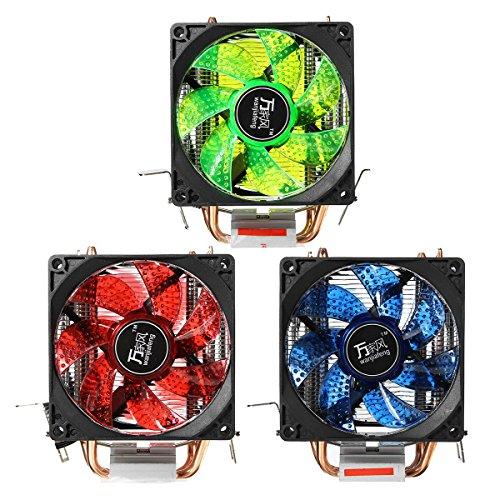 Tutoy Led 4 Heatpipe Dual Lüfter Ruhig Cpu Kühler Lüfter Kühlkörper Für Lga 1155 775 1156 Amd-Grün