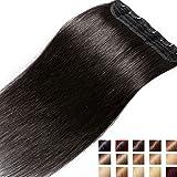 S-noilite® Extensions de cheveux humains à clips naturel #1B Noir Naturel - 100% Remy hair - UNE PIECE / 5 CLIPS - 40CM(45g)