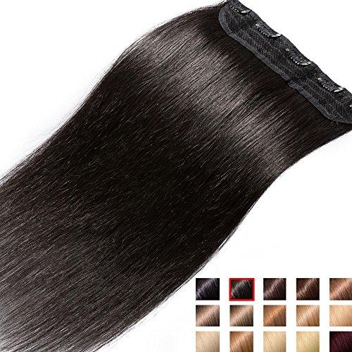 Clip in extensions echthaar Haarverlängerung 100% Remy Echthaar - 1 Stück (50cm-50g #1B naturschwarz)