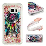 E-Mandala Samsung Galaxy S6 Hülle Glitzer Flüssig Liquid Glitter Case Cover Handyhülle Schutzhülle Transparent mit Muster Durchsichtig Tasche Silikon - Traumfänger Feder Campanula