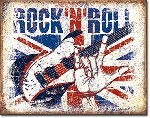 Hunnry Rock N Roll Poster Metall Blechschilder Retro Dekoration Schild Aluminium Blechwaren Vintage Wandkunstplakat Zum Cafe Bar Wohnzimmer Zuhause