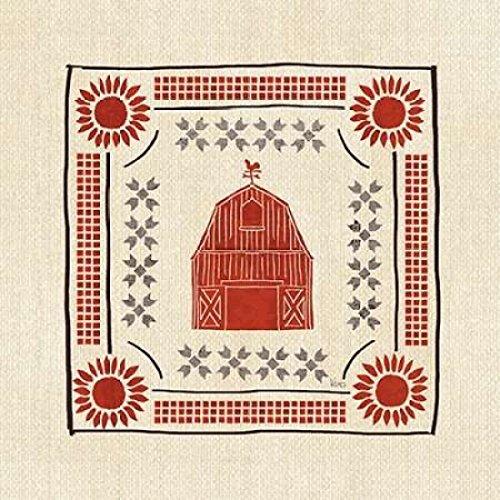 The Poster Corp Veronique Charron - Little Red Farm Tile I Kunstdruck (60,96 x 60,96 cm) -