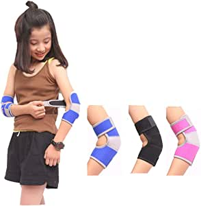 Bigsweety Kids Adjustable Elbow Brace Protector Crashproof Pad Breathable Arm Support for Cycling Climbing Dancing Blue