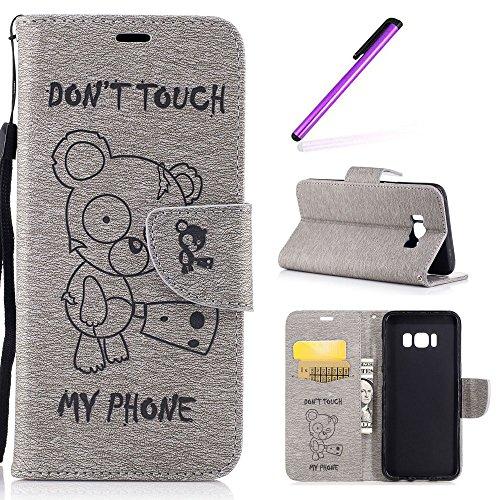 EMAXELERS Galaxy S8 Hülle Anime,Galaxy S8 Hülle Cute Bear Muster PU Leder Ledercase Flip Tasche Wallet Schutzhülle Etui Tasche Handytasche Hülle für Samsung Galaxy S8,Gray Bear
