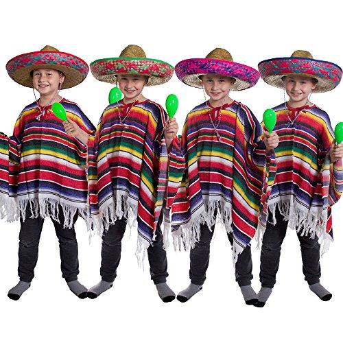 JUNGEN KOSTÜM KINDER PONCHO-MEXIKO GROSSE SONNENBLUME SOMBRERO WILD WEST BANDIT KID VON ILOVEFANCYDRESS ®