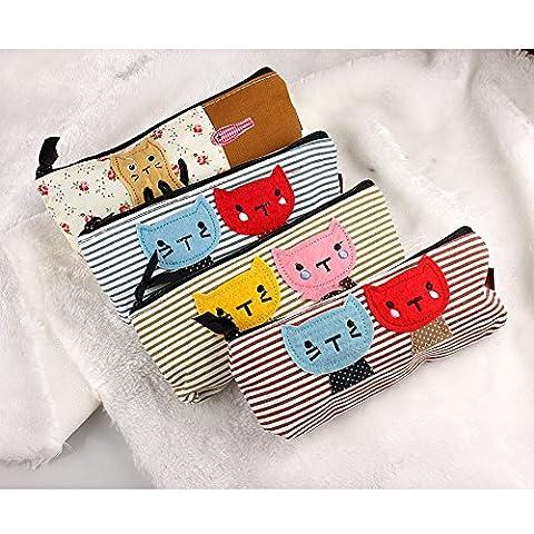 Butterme Trousses Mignon, Ensemble de 4 couleur différente Belle Pen Trousses conception de chat sac en toile, But multiple souple Crayon Sac Pour bureau de l