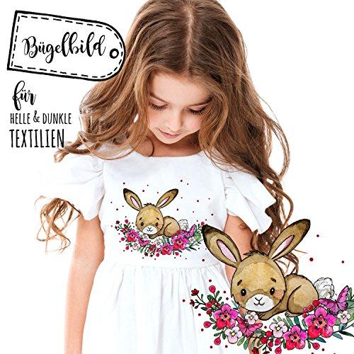 Bügelbilder Hase Häschen & Punkte Applikation Bügelbild Bügelmotiv Aufbügelbilder für Mädchen bb107 ilka parey wandtattoo-welt® Kaninchen-karotte-patch