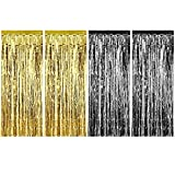 4 Packung Folie Vorhänge Metallic Fringe Vorhänge Schimmer Vorhang für Geburtstag Hochzeit Weihnachtsschmuck (Gold und Schwarz)