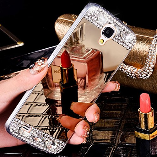 Custodia Cover per Samsung Galaxy S5, Ukayfe Cover Specchio Lusso Placcatura Lucido di Cristallo di Scintillio Strass Diamante Glitter Caso per iPhone 7 Plus[Crystal TPU] [Shock-Absorption] Protettiva Champagne oro1#