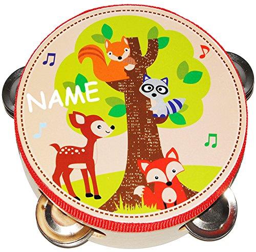 alles-meine.de GmbH Tamburin - aus Holz -  Waldtiere - Fuchs & REH  - incl. Name - mit Metall Schellen / für Kinder & Erwachsene - Perkussion - Tambourin - Handtrommel - Musiki..