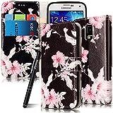 Slynmax Pk Blumen Schwarz PU Ledertasche hülle für Samsung Galaxy S5 / S5 Neo Hülle Leder Tasche Flip Cover Wallet Case Telefon-Tasche Handytasche Kreativ Brieftasche