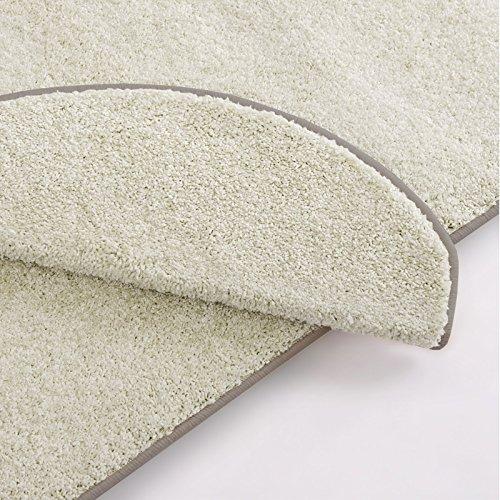 Stufenmatte uni creme | Qualitätsprodukt aus Deutschland | GUT Siegel | kombinierbar mit Läufer | 65x23,5 cm | halbrund | einzelne Matte