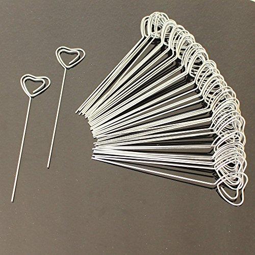 50pz Pinze Pinzette in metallo Forma Cuore Portafoto Supporto MEMO FOTO CLIP Bastoncini Segnaposto Bomboniera Fai Da Te - Fili A Forma Di Cuore