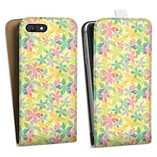 Apple iPhone X Silikon Hülle Case Schutzhülle Bunt Muster blumen Downflip Tasche weiß