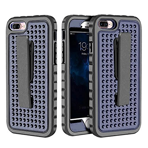IPhone 7 Plus Case, Super Shockproof 3 In 1 PC Hard Case mit Clip für IPhone 7 Plus ( Color : Silver ) Blue