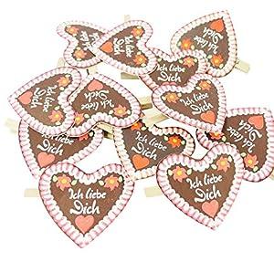 Daum - Pimp Up Your Life 798/1017-Juego de 12Alemán Corazones en diseño de Jengibre Ich Liebe Dich con de Pinzas de Madera, 6cm, Color Rojo