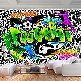decomonkey Fototapete Graffiti Fußball 250x175 cm XL Tapete Fototapeten Vlies Tapeten Vliestapete Wandtapete moderne Wandbild Wand Schlafzimmer Wohnzimmer Jugendzimmer Ball schwarz weiß grün
