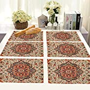 BRICK HOME Flower Ethnic Dining Table Mat - 12 x 18 inches - Set of 6