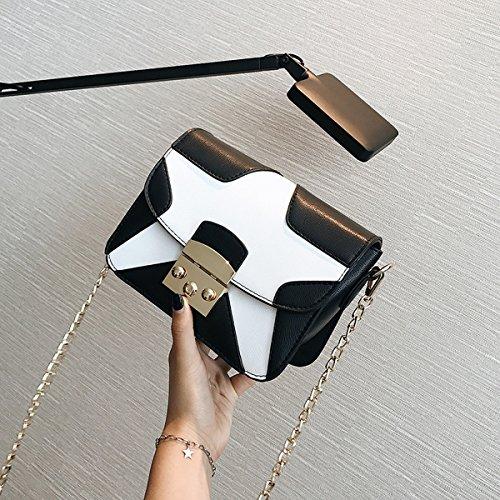 Dame Fünfzackigen Stern Spleißen Verschluss Clamshell Kleine Quadratische Tasche Schulter Messenger Bag Schwarz