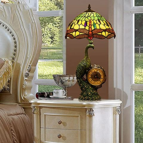 Tiffany-Stil Tischleuchte/Europäische Vintage Libelle Schlafzimmer Nachttischlampe/ Kunst Glasmalerei Tischleuchte-A