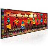 decomonkey Bilder Afrika Frau 150x50 cm 1 Teilig Leinwandbilder Bild auf Leinwand Vlies Wandbild Kunstdruck Wanddeko Wand Wohnzimmer Wanddekoration Deko oragne Mozaic Sonne