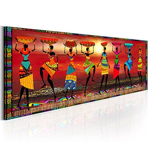 decomonkey Bilder Afrika Frau 120x40 cm 1 Teilig Leinwandbilder Bild auf Leinwand Vlies Wandbild Kunstdruck Wanddeko Wand Wohnzimmer Wanddekoration Deko oragne Mozaic Sonne