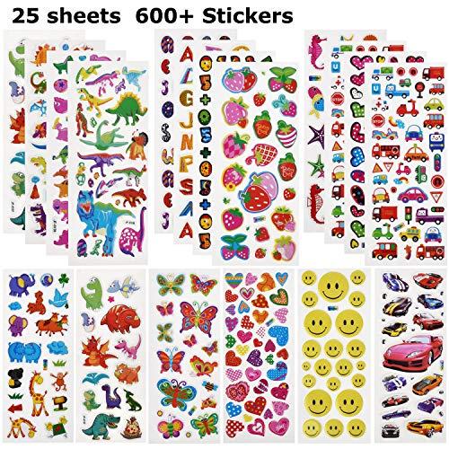 Willingood 3D Sticker Aufkleber Set für Kinder Mädchen 25 Verschiedene Blätter 600+ Geschwollen Stickers mit Dinosaur, Cars, Parteibevorzugungen, Mitgebsel Kindergeburtstag und Gastgeschenke