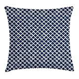 FAFANI Indigo Throw Pillow Cushion Cover, Hand Drawn Sketchy Like Zig Zag Inner Design with Rectangular Shapes, Decorative Square Accent Pillow Case, 18 X 18 Inches, Petrol Blue and White