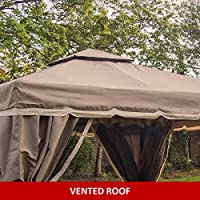 Florence Gazebo 3m X 3m Mocha Fully Waterproof Pvc Lined Canopy Heavy Duty Complete With Fly Nets And Curtains *****stock In End Of February**** from MASTERS OUTDOOR LEISURE LTD