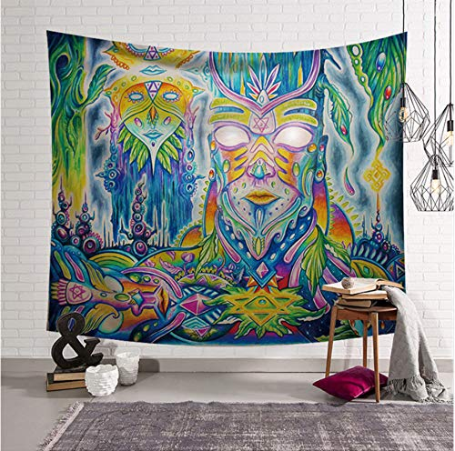 Abstract Painting Pattern Tapestry Vintage Wall Hanging Bohemian Polyester Yoga Mat Wall Mount Tapestry-150X130CM (Vintage Ebay Halloween)