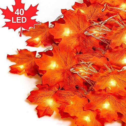 Herbst Dekoration Blätter Lichterketten,4M 40 LEDs Herbst-Ahornblatt-Girlande LED Ahornblätter, Dekoration Lichter, Wasserdicht, Ahornblatt-Lichterkette für Erntedankfest,3AA batteriebetrieben -