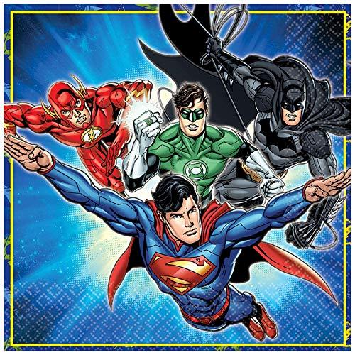 61i5spYROuL - Justice League Party DC Suministros Niños Fiesta de cumpleaños Vajilla Platos Tazas Servilletas Mantel con Paquete de Globos Gratis y Velas para 16 Invitados