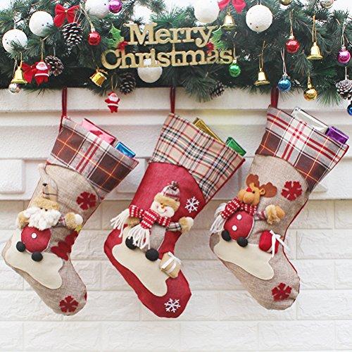 3 calze natalizie pcs fmedia classico regalo di natale sacca decorativa per case set calze con babbo natale, pupazzo di neve, renne